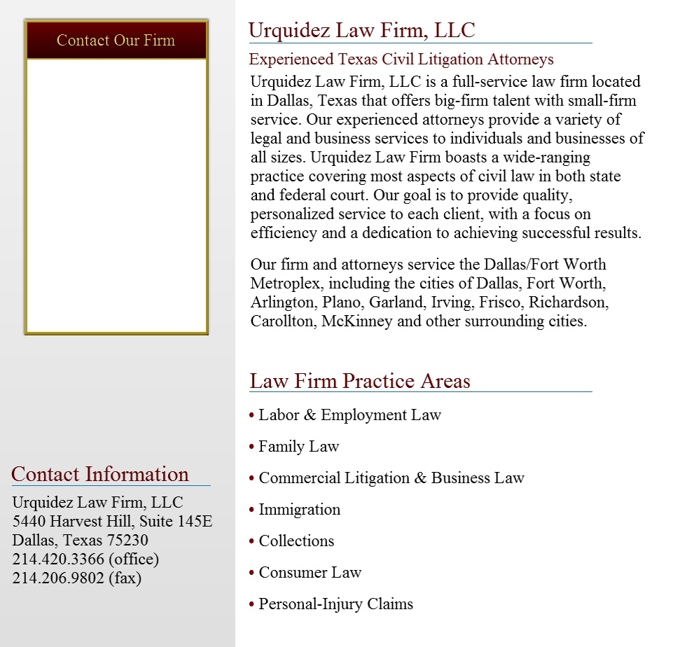 Urquidez Law Firm - Mobile Friendly Page